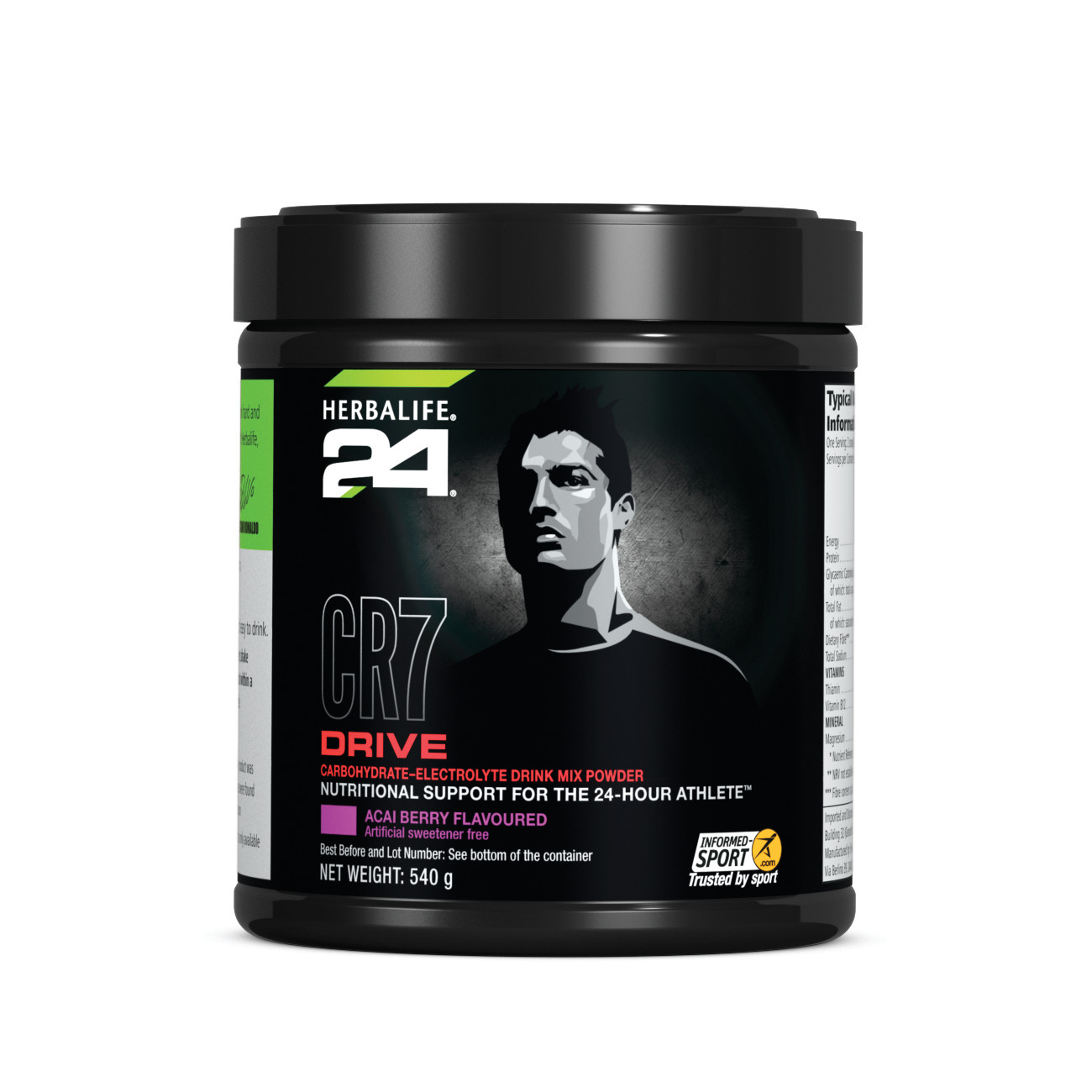 Herbalife24® CR7 Drive Carbohydrate-Electrolyte Drink Mix Acai Berry Flavoured 540 g product shot